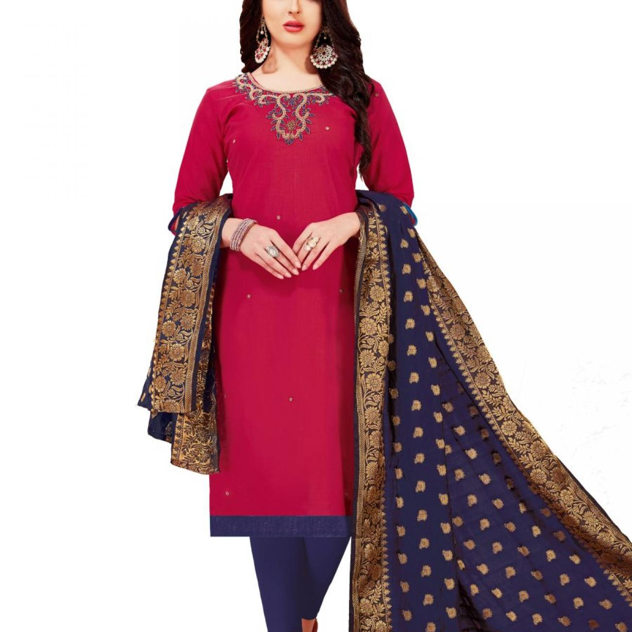 Raani-Blue-South-Cotton-Slub-With-Embroidery-Dress-Materials-1008